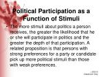 political participation as a function of stimuli