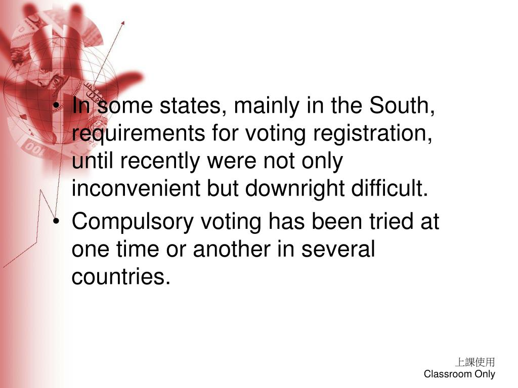 In some states, mainly in the South, requirements for voting registration, until recently were not only inconvenient but downright difficult.