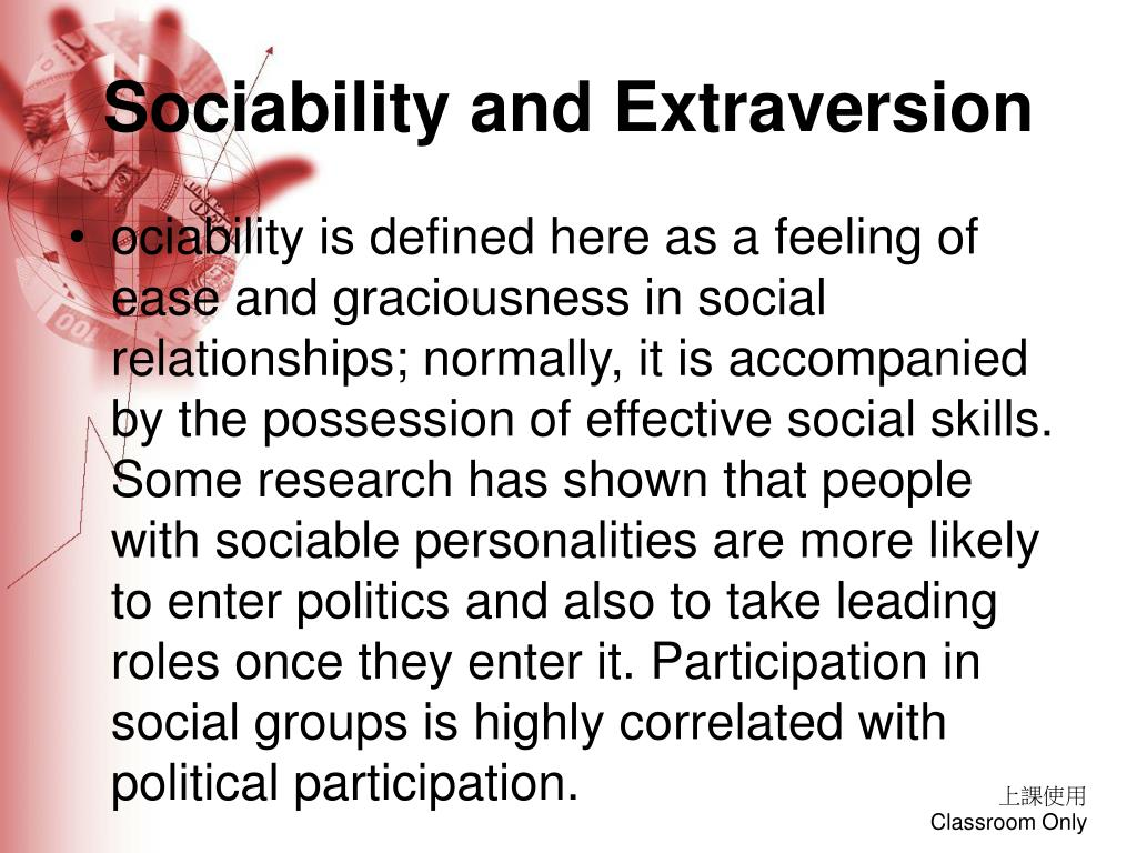 Sociability and Extraversion