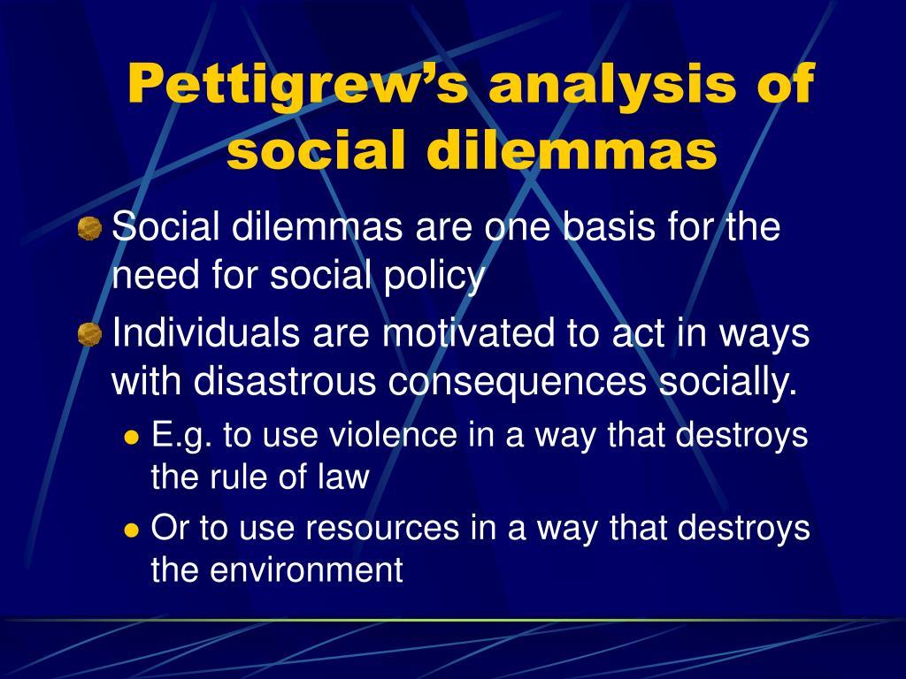 Pettigrew's analysis of social dilemmas