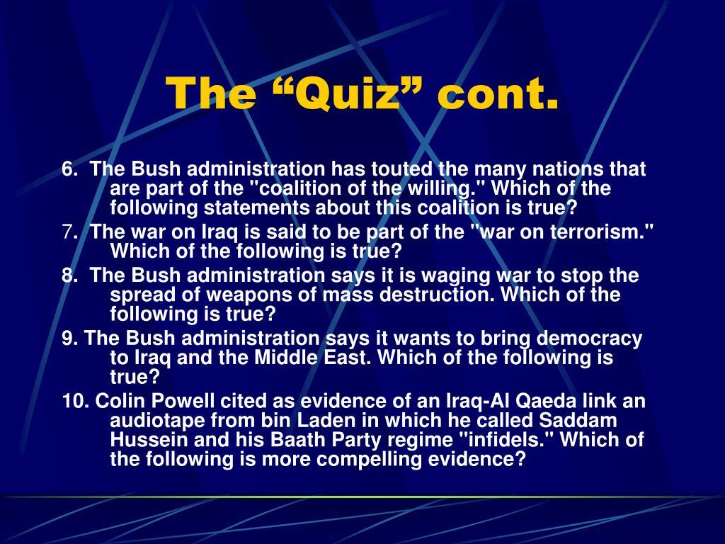 "The ""Quiz"" cont."