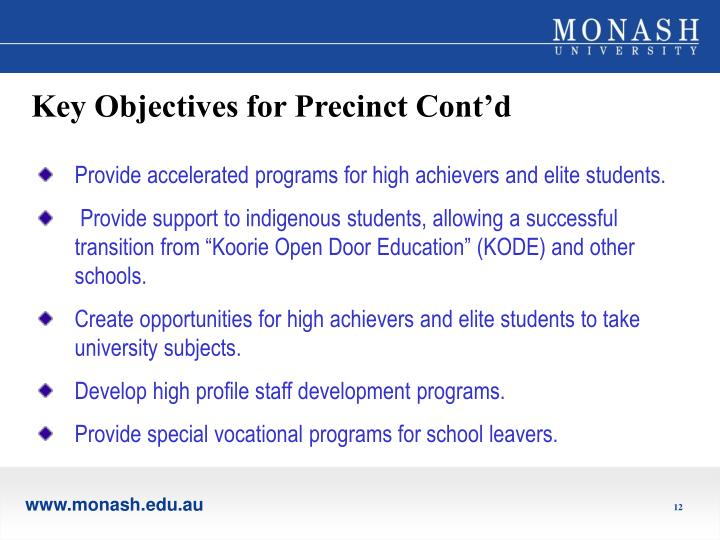 Key Objectives for Precinct Cont'd