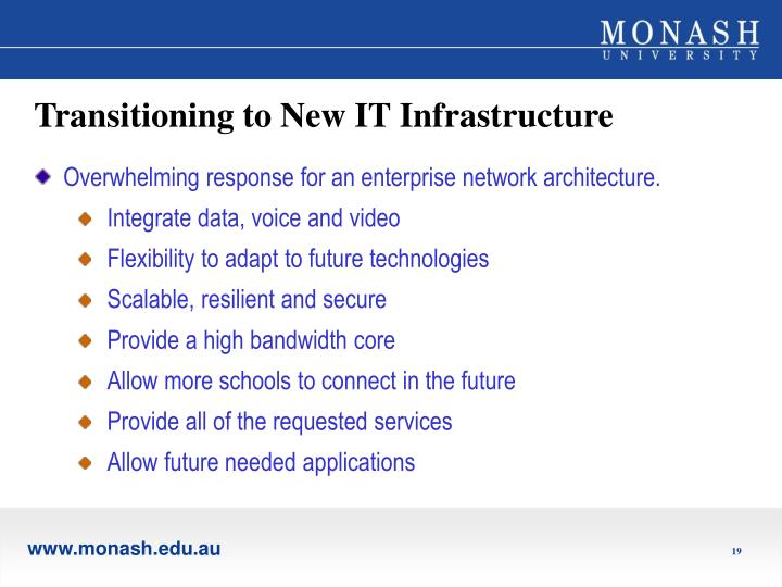Transitioning to New IT Infrastructure