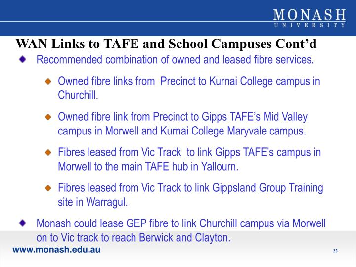 WAN Links to TAFE and School Campuses Cont'd