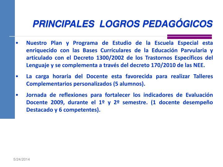 PRINCIPALES  LOGROS PEDAGÓGICOS
