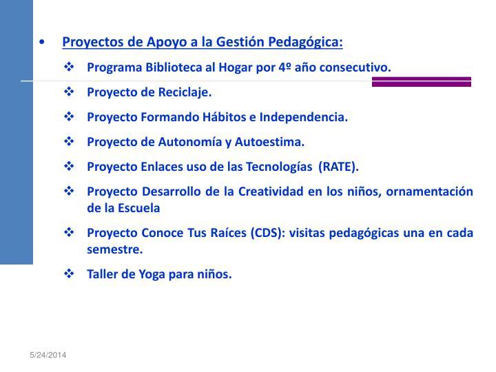Proyectos de Apoyo a la Gestión Pedagógica: