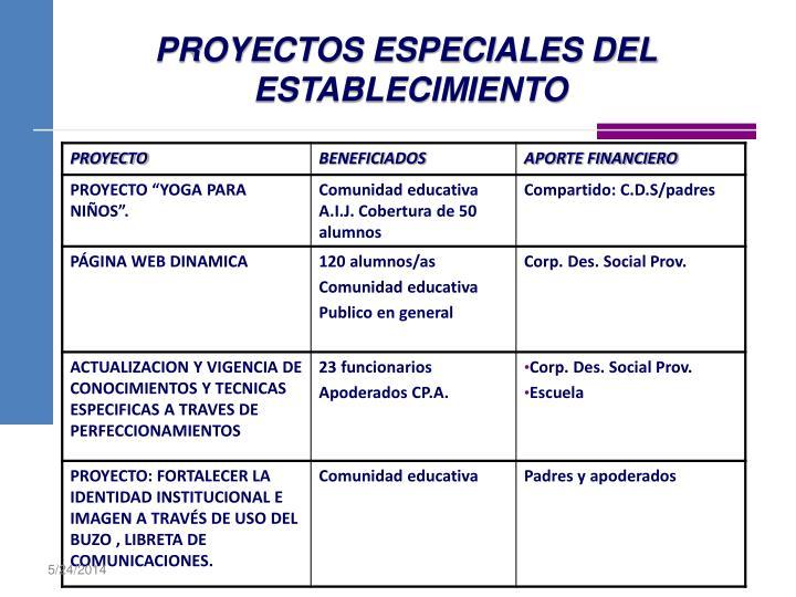 PROYECTOS ESPECIALES DEL