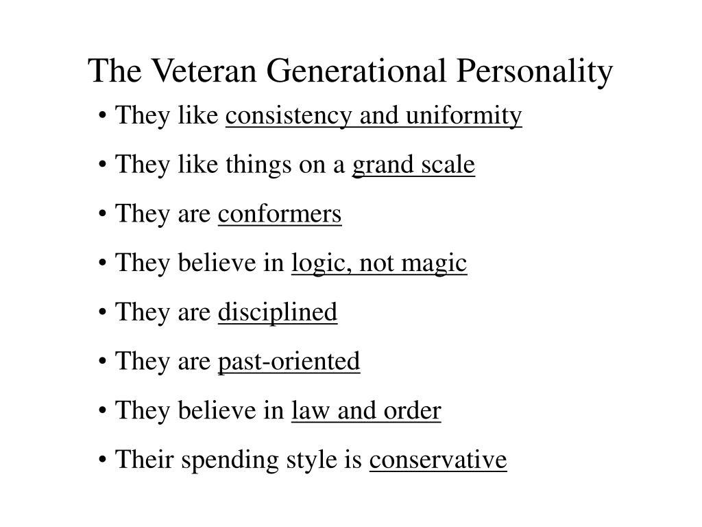 The Veteran Generational Personality