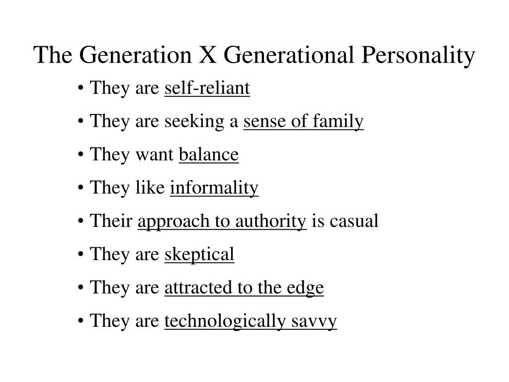 The Generation X Generational Personality