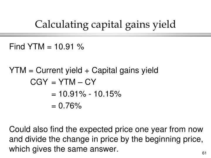 Calculating capital gains yield