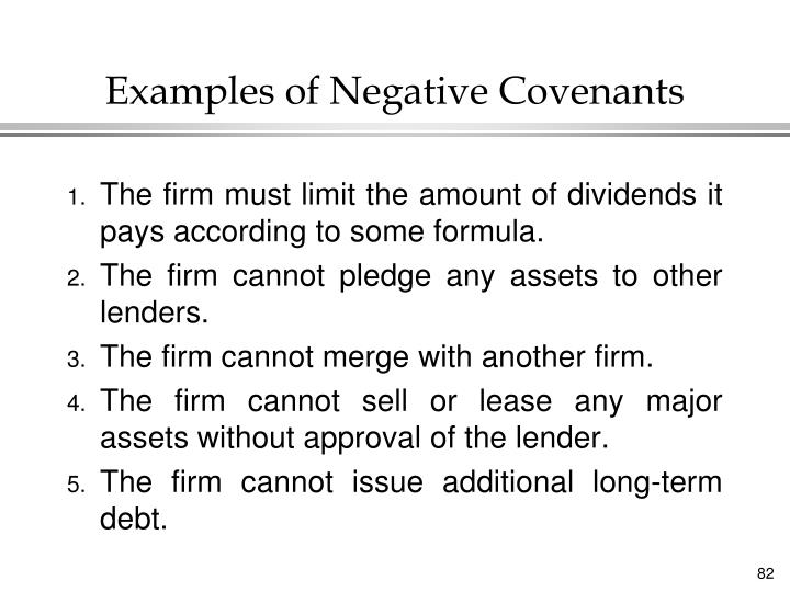 Examples of Negative Covenants