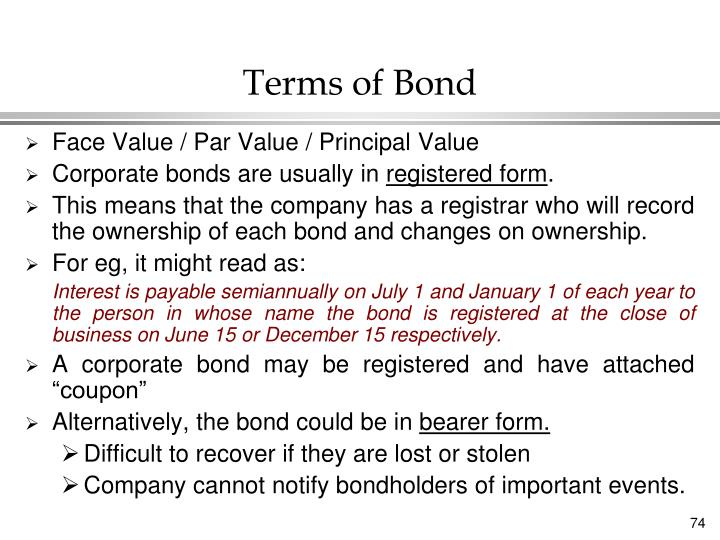 Terms of Bond