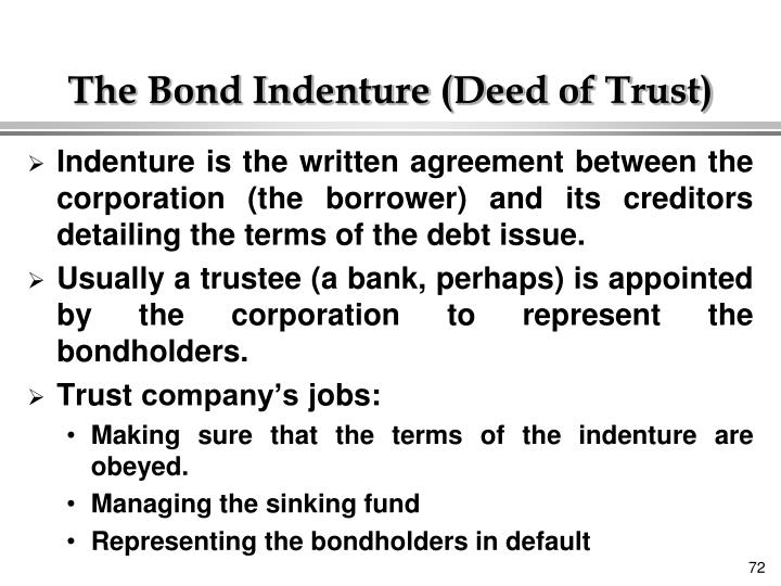 The Bond Indenture (Deed of Trust)