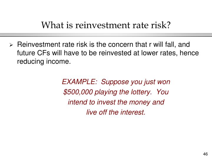 What is reinvestment rate risk?