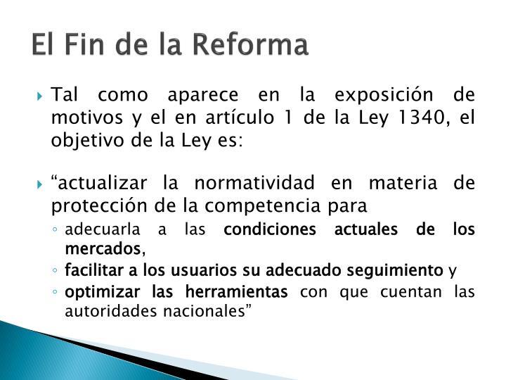 El Fin de la Reforma