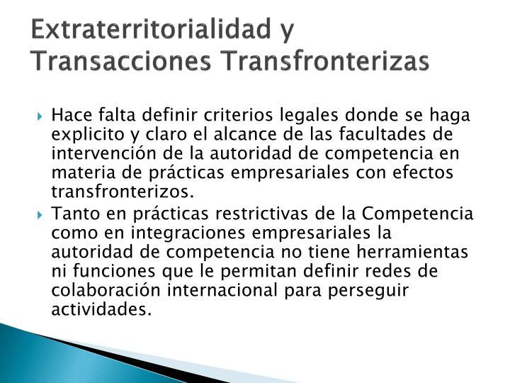 Extraterritorialidad y Transacciones Transfronterizas
