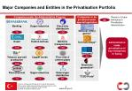 major companies and entities in the privatisation portfolio