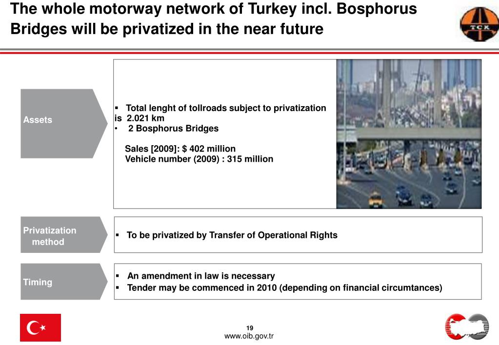 The whole motorway network of Turkey incl. Bosphorus Bridges will be privatized in the near future