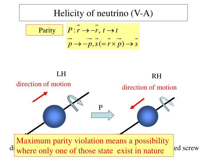 Helicity of neutrino (V-A)