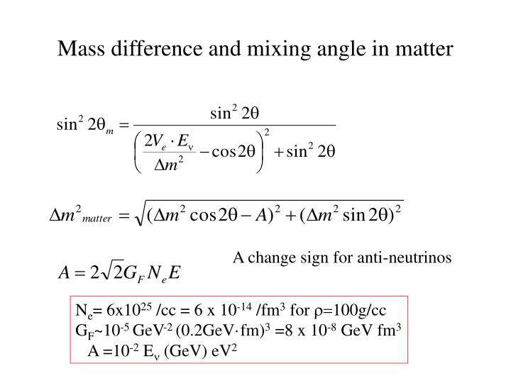 Mass difference and mixing angle in matter
