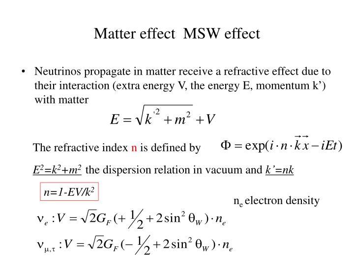 Matter effect  MSW effect