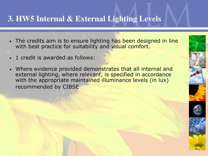 3. HW5 Internal & External Lighting Levels