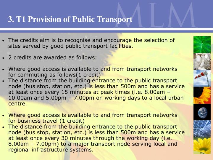 3. T1 Provision of Public Transport