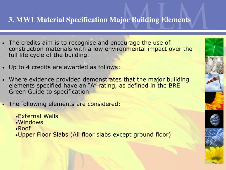 3. MW1 Material Specification Major Building Elements