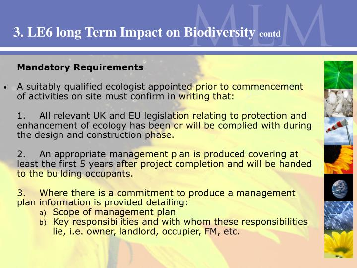 3. LE6 long Term Impact on Biodiversity