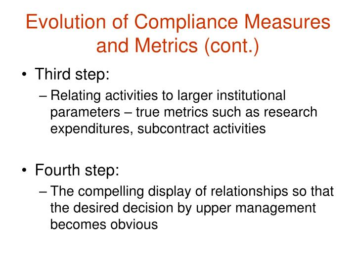 Evolution of Compliance Measures and Metrics (cont.)
