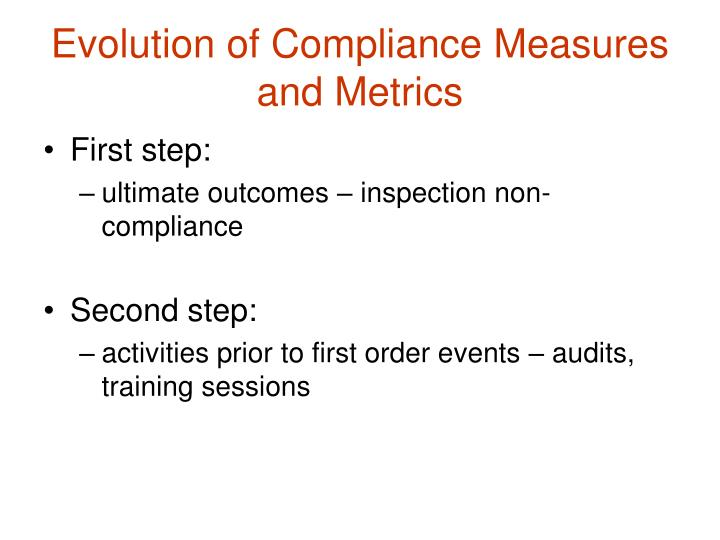 Evolution of Compliance Measures and Metrics