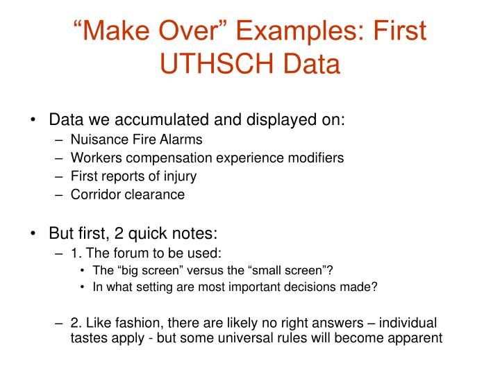 """Make Over"" Examples: First UTHSCH Data"