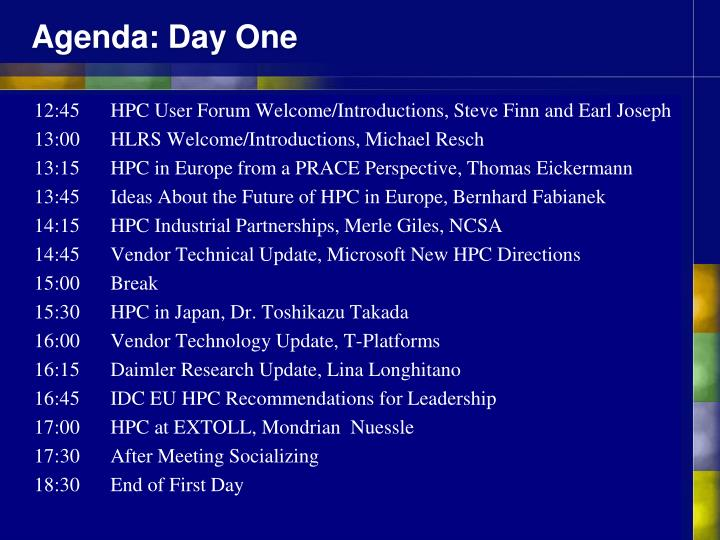 Agenda: Day