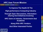 hpc user forum mission