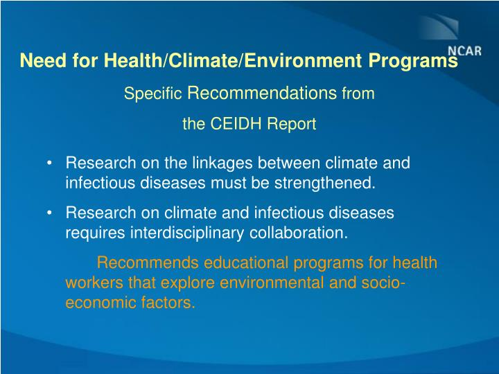 Need for Health/Climate/Environment Programs