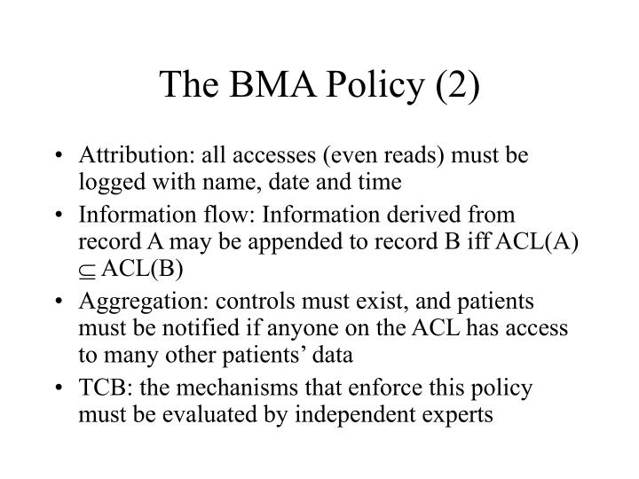 The BMA Policy (2)