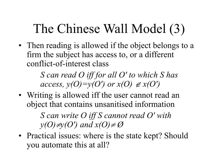 The Chinese Wall Model (3)