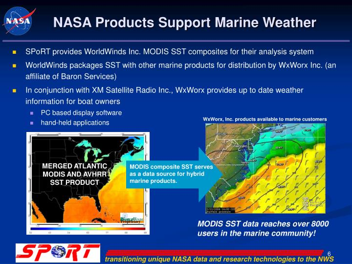 NASA Products Support Marine Weather