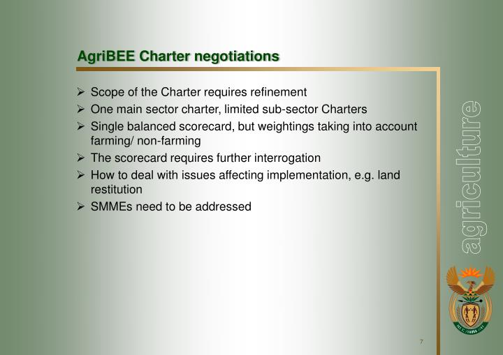 AgriBEE Charter negotiations