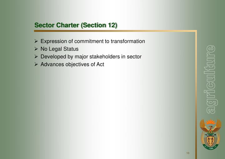 Sector Charter (Section 12)