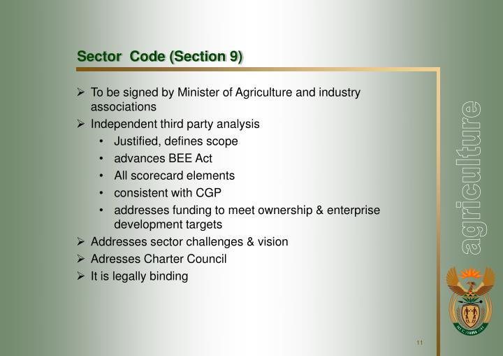 Sector  Code (Section 9)
