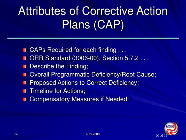 Attributes of Corrective Action Plans (CAP)