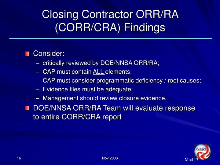 Closing Contractor ORR/RA (CORR/CRA) Findings
