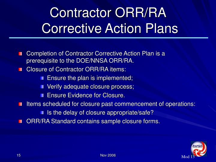 Contractor ORR/RA