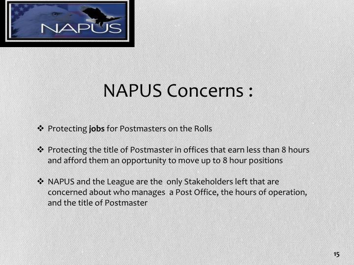 NAPUS Concerns :