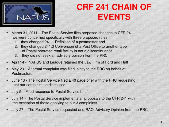 CRF 241 CHAIN OF EVENTS