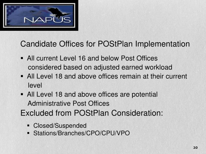 Candidate Offices for POStPlan
