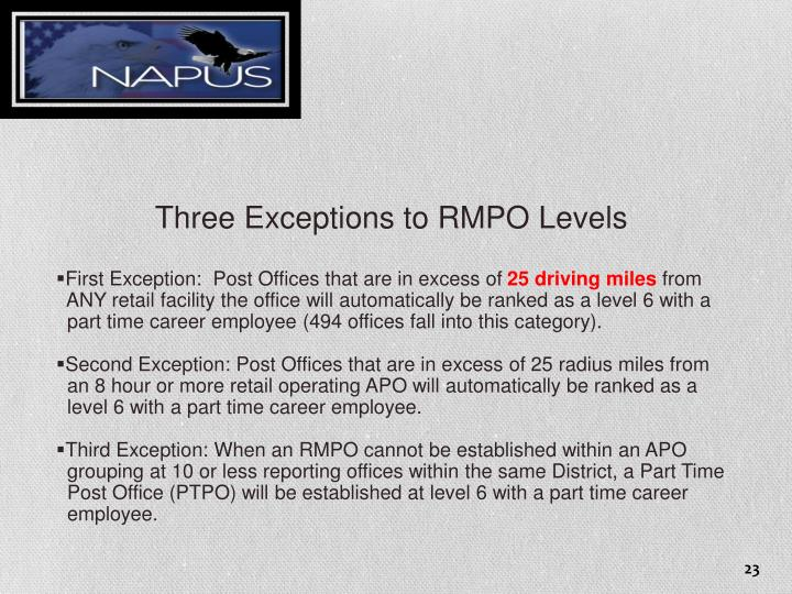 Three Exceptions to RMPO