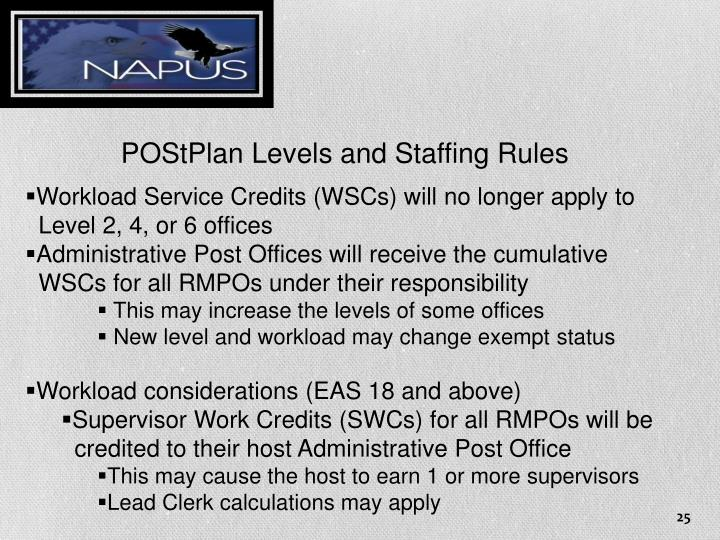 POStPlan Levels and Staffing