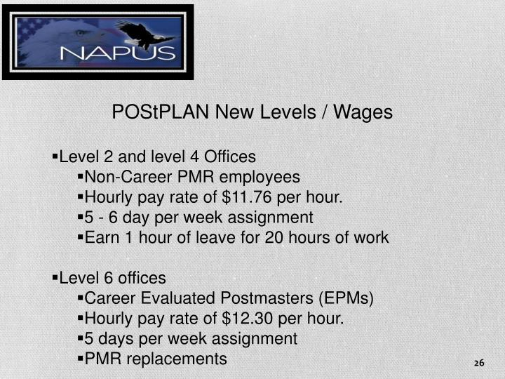 POStPLAN New Levels / Wages